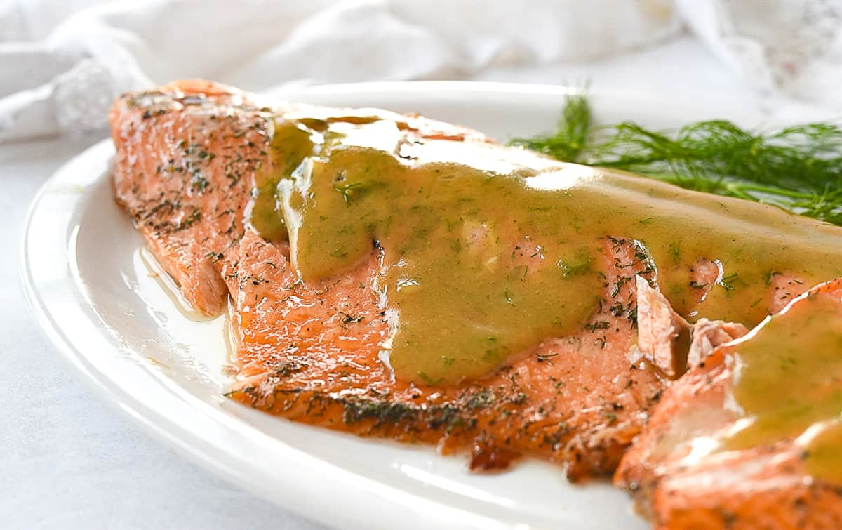 salmon with sauce on top