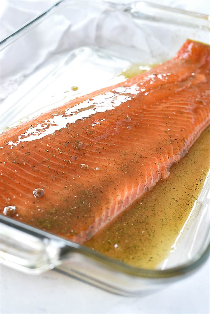 salmon with marinade on top