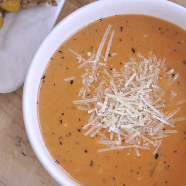 bowl of dressed up tomato soup
