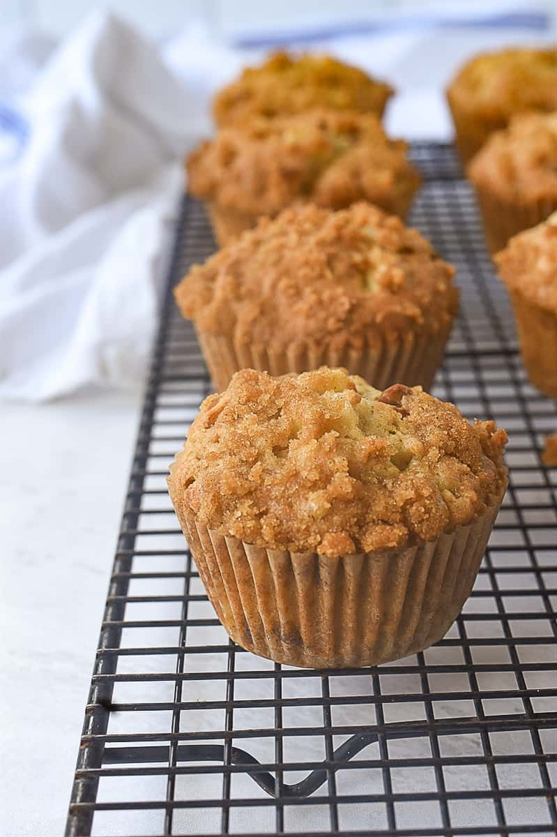 apple muffins on a rack