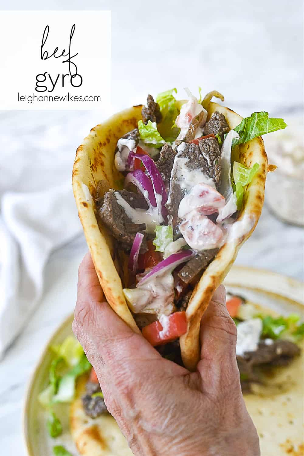 hand holding a gyro
