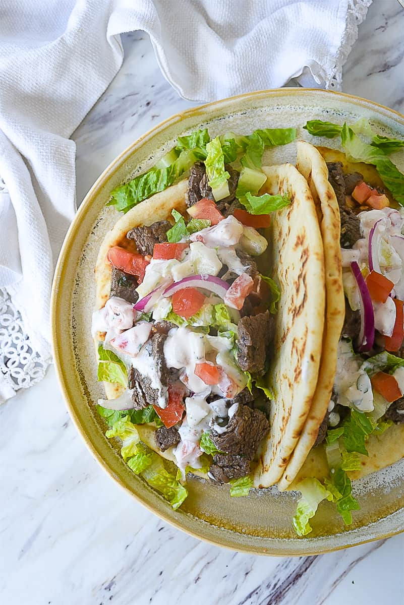 two gyros on a plate