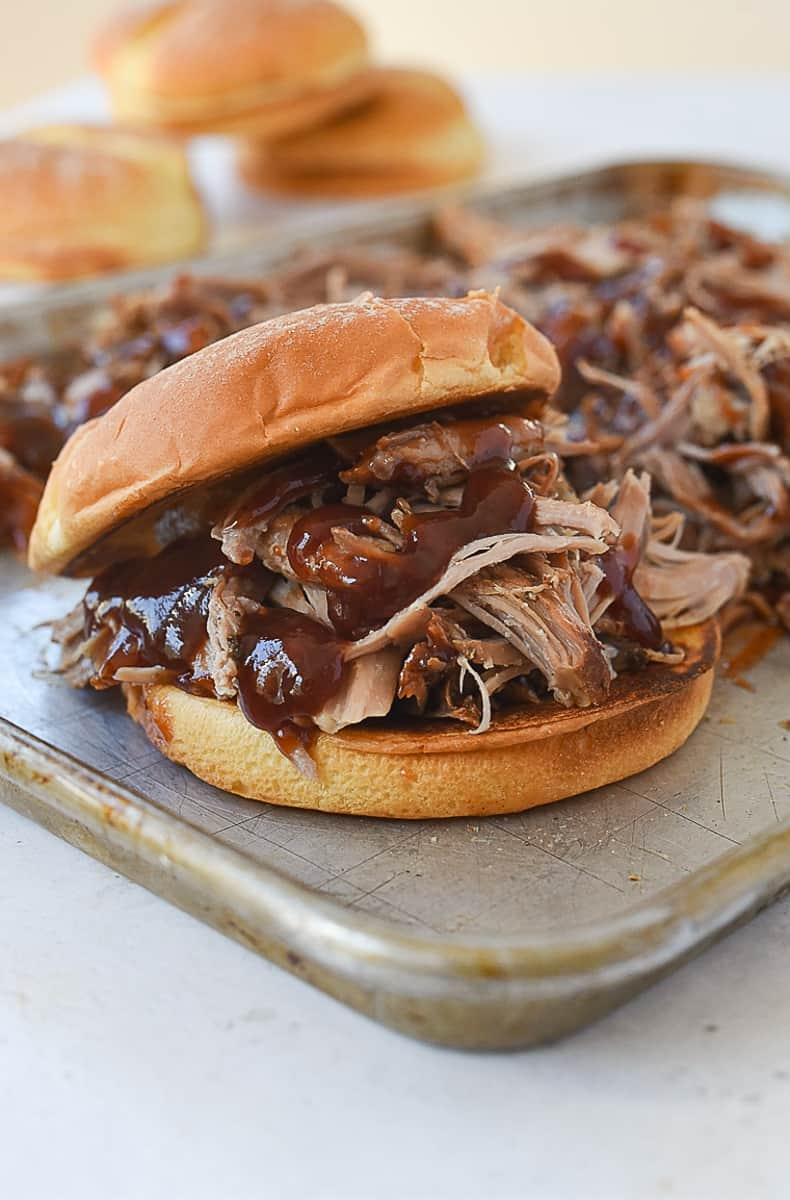 bbq pork sandwich on a bun