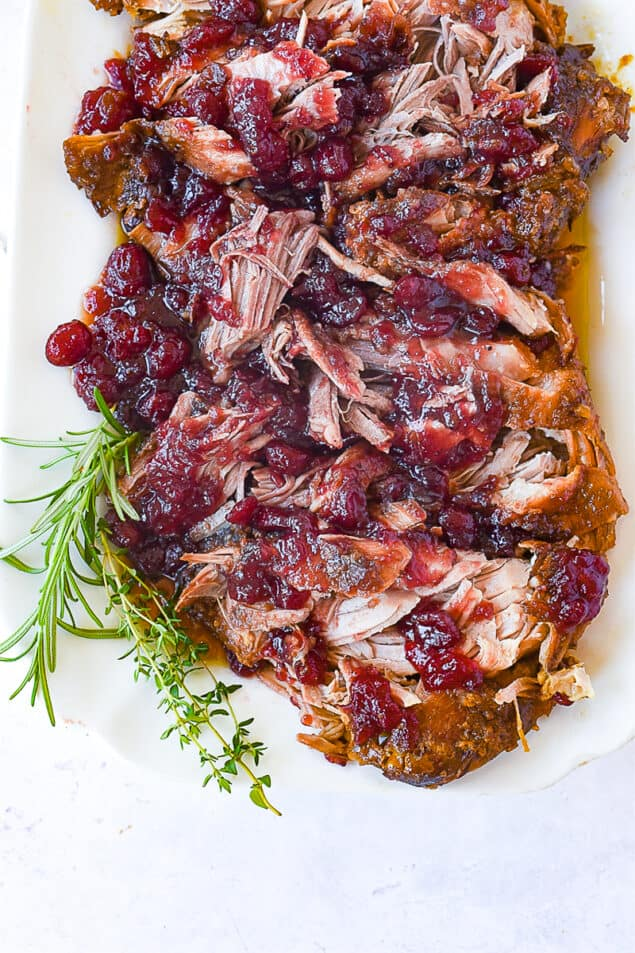 overhead shot of crock pot cranberry pork