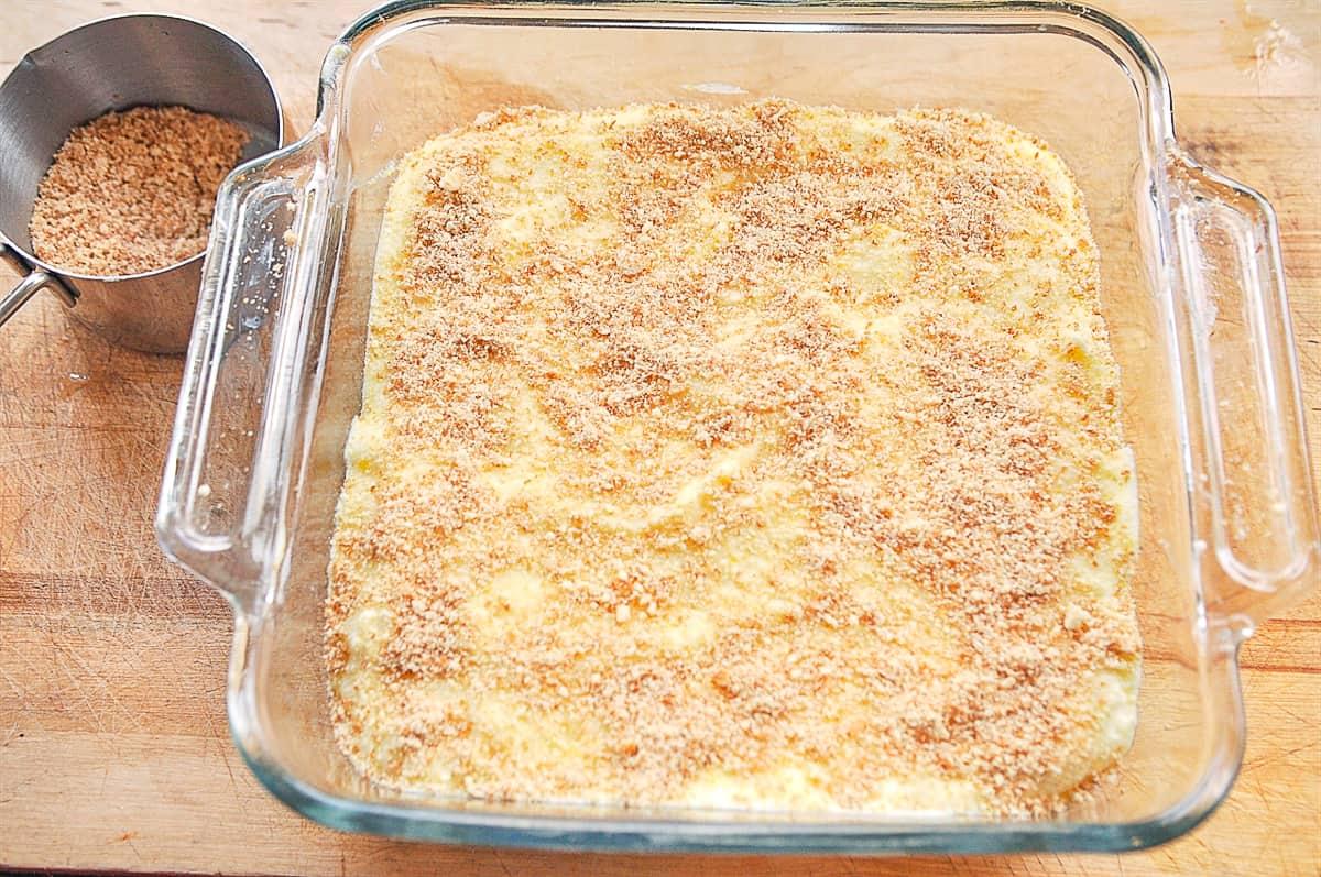 lemon dessert in pan