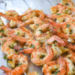 Garlic Herb Shrimp on a baking sheet