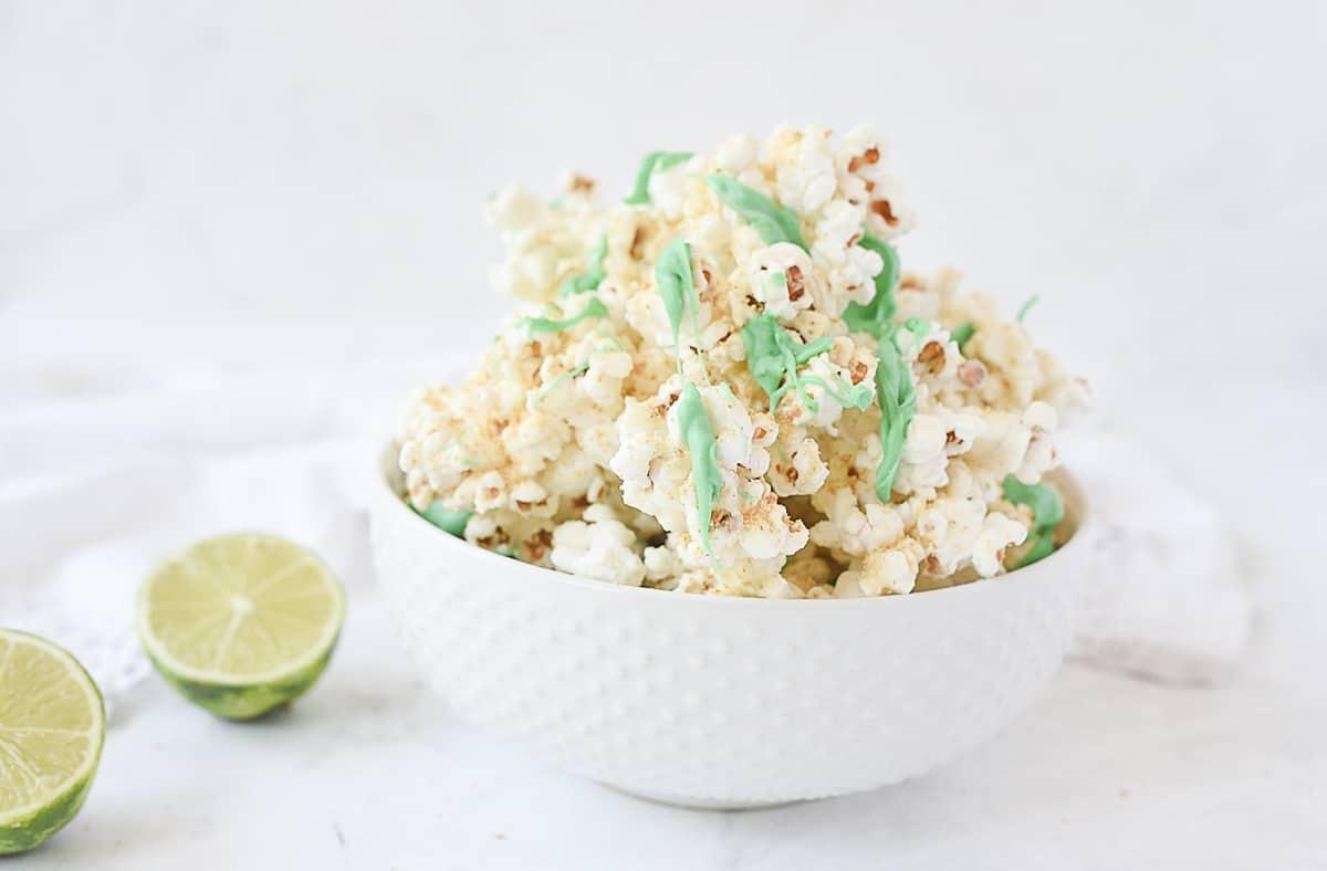 white bowl of key lime popcorn