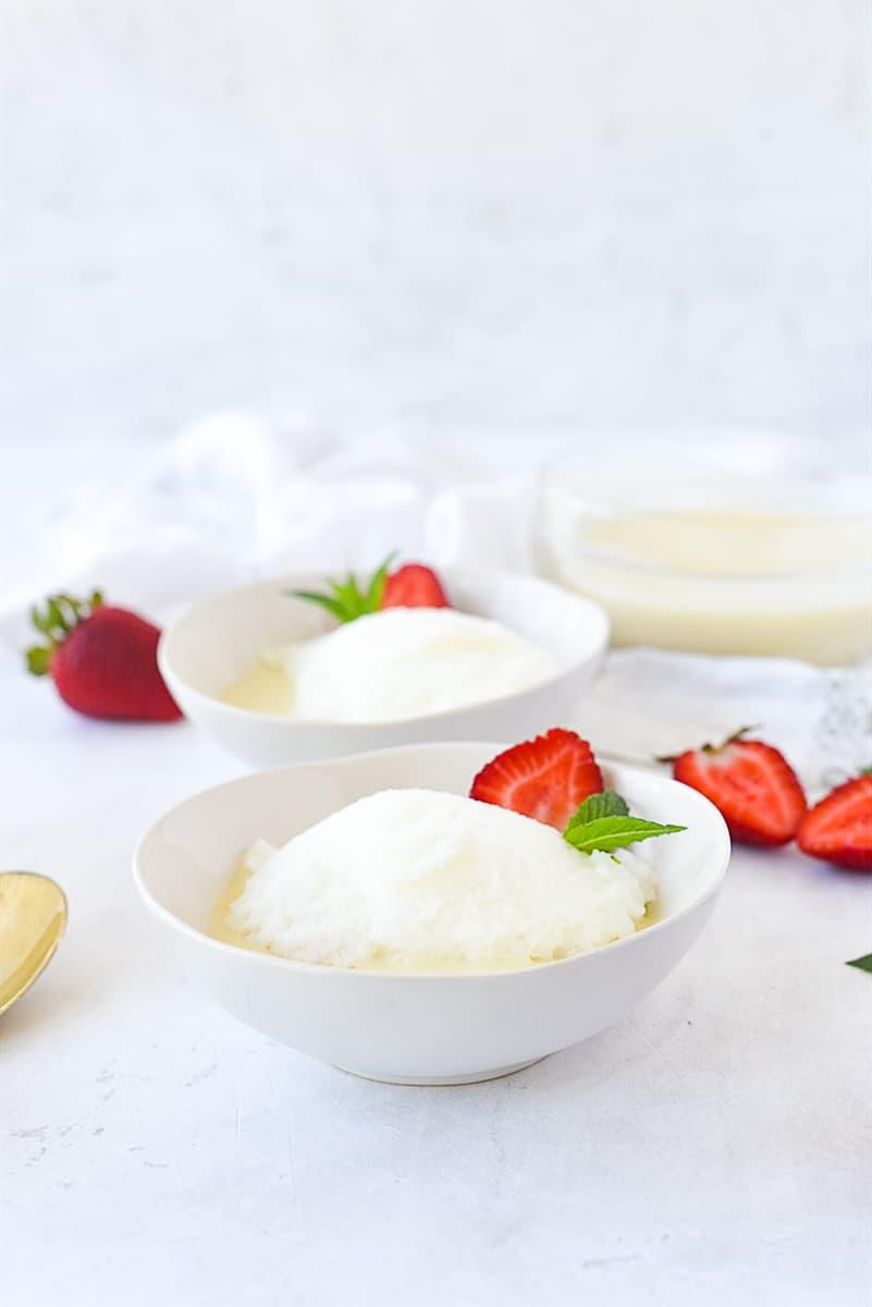 two bowls of lemon snow pudding