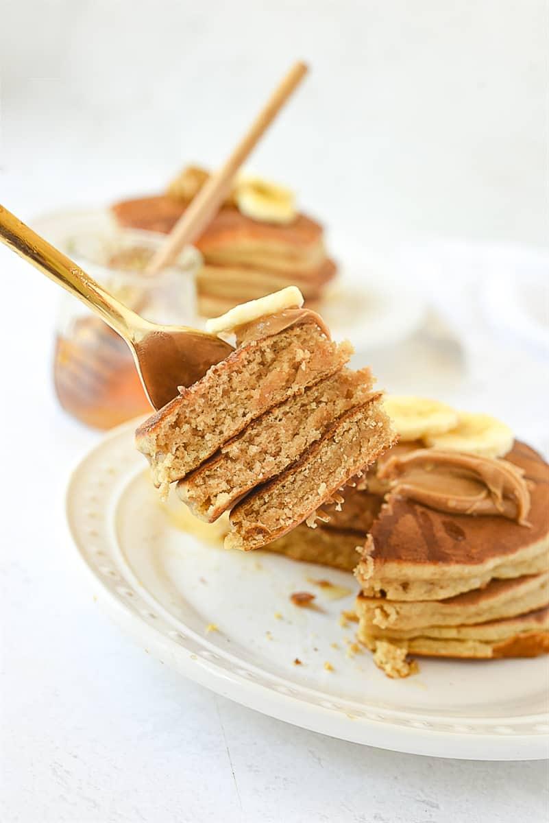Pancake on a fork