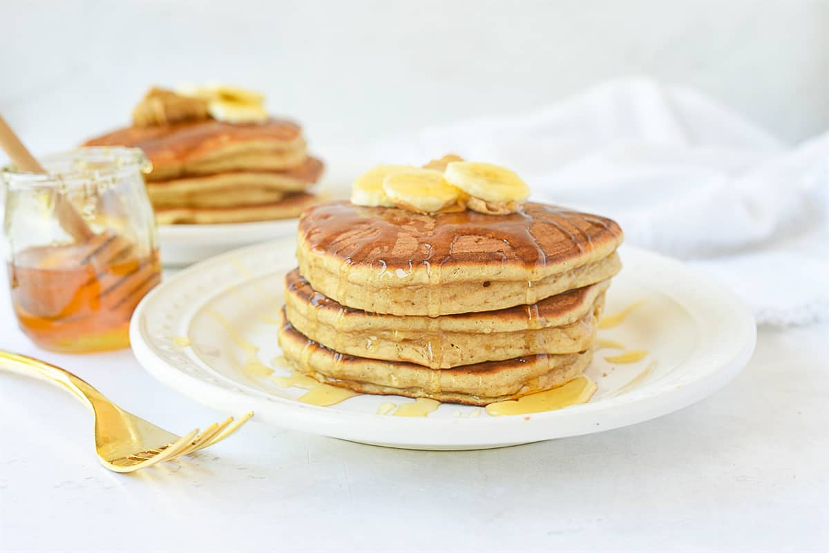 peanut butter pancakes with honey