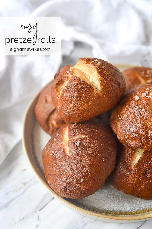 pretzel rolls on  a plate