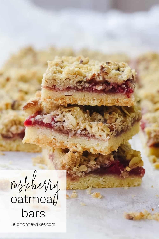 stack of raspberry oatmeal bars