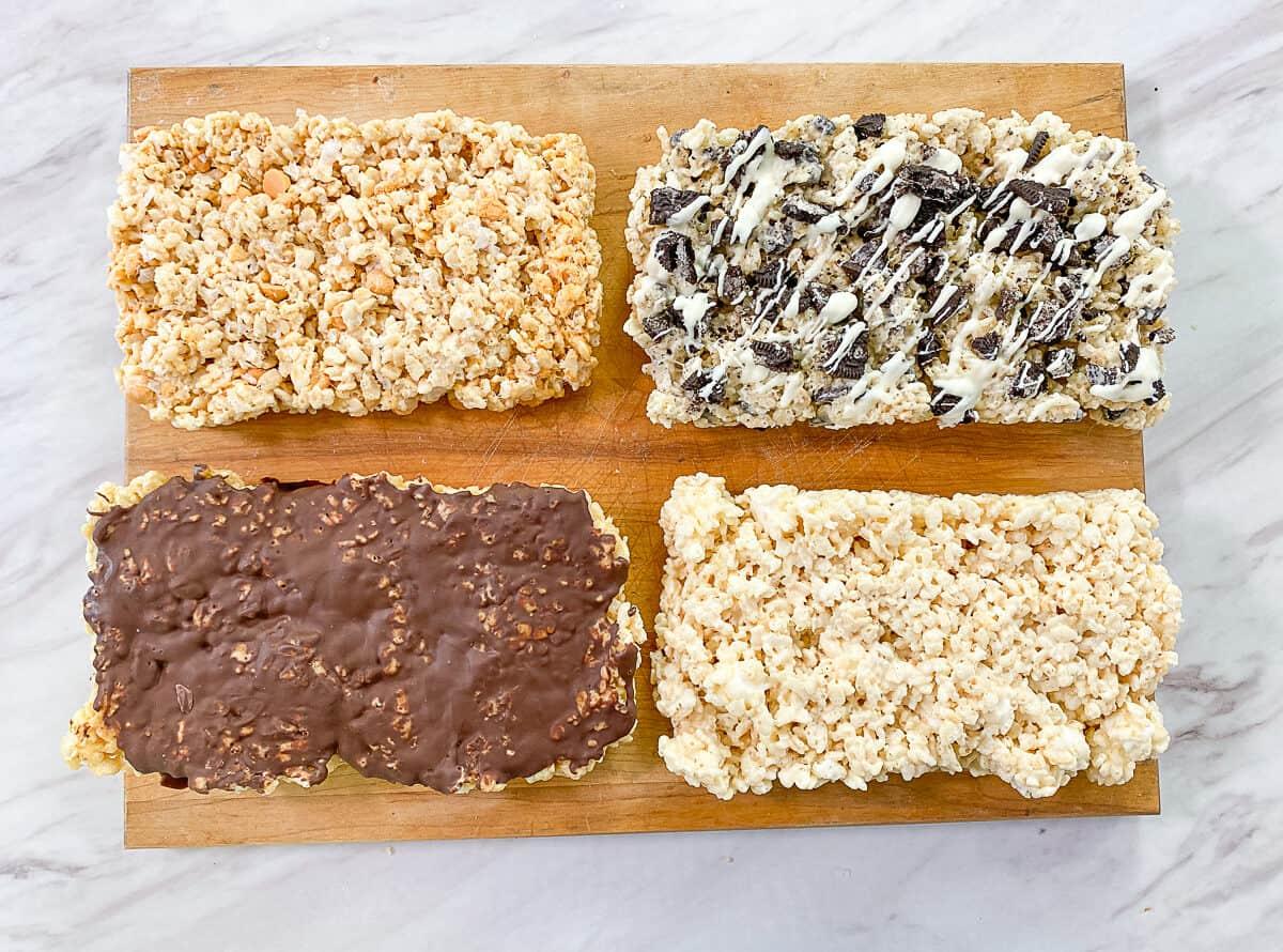 four variations of rice krispies treats