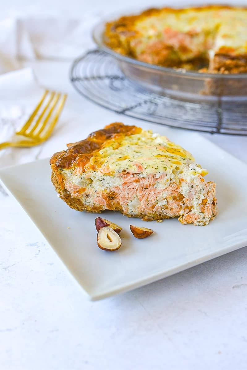slice of salmon quiche
