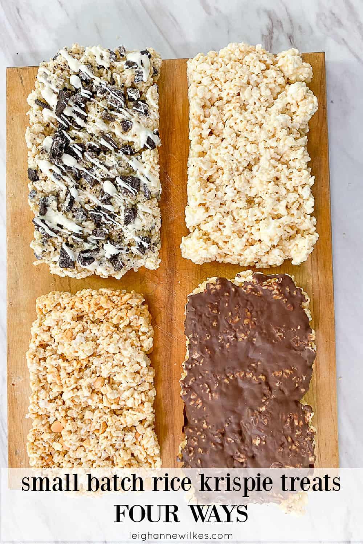4 variations of rice krispie treats