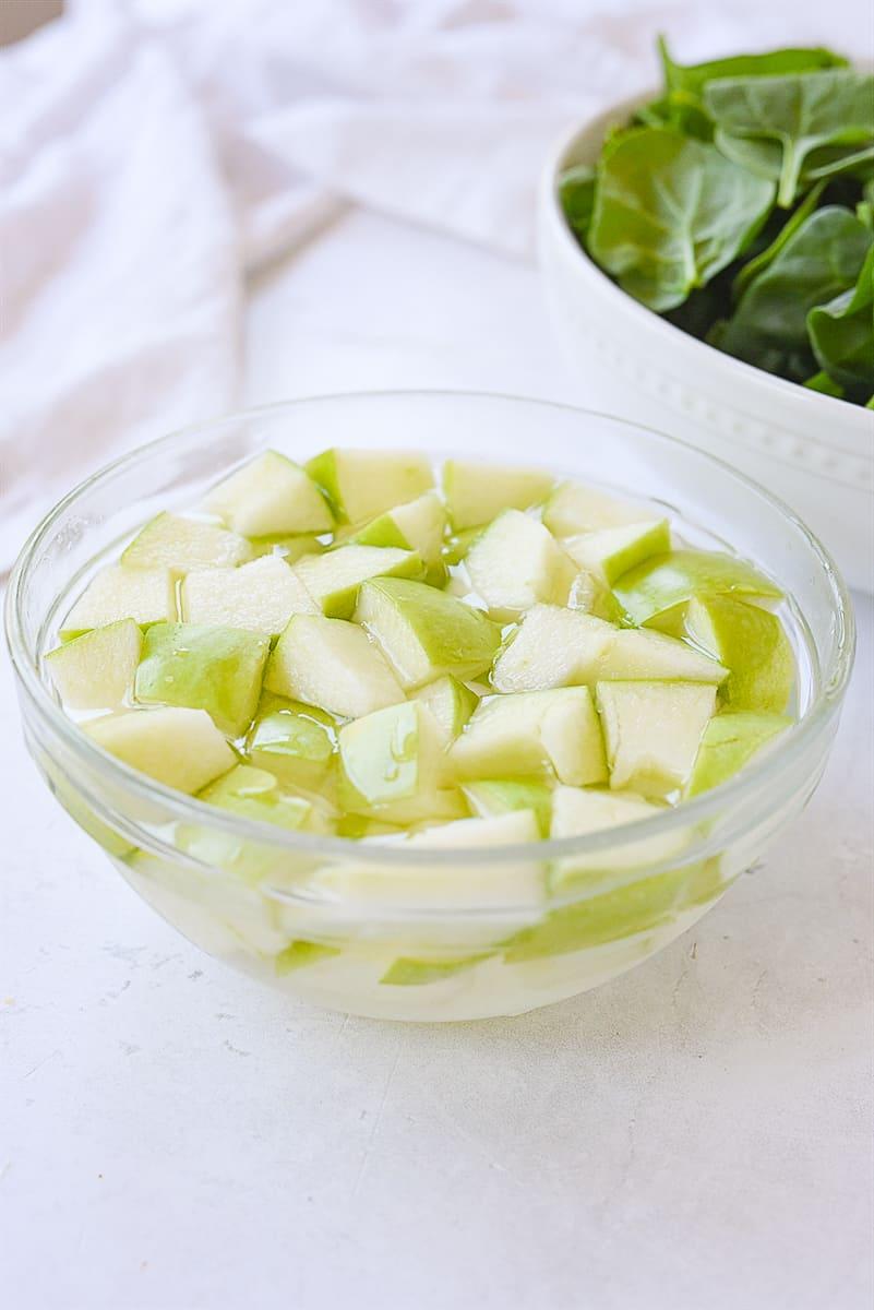 apples soaking in salt water