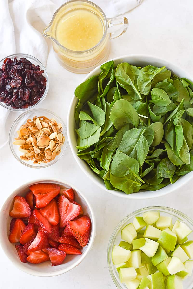 ingredients for spinach fruit salad