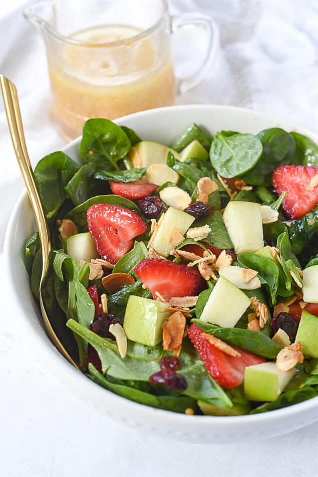 bowl of spinach fruit salad