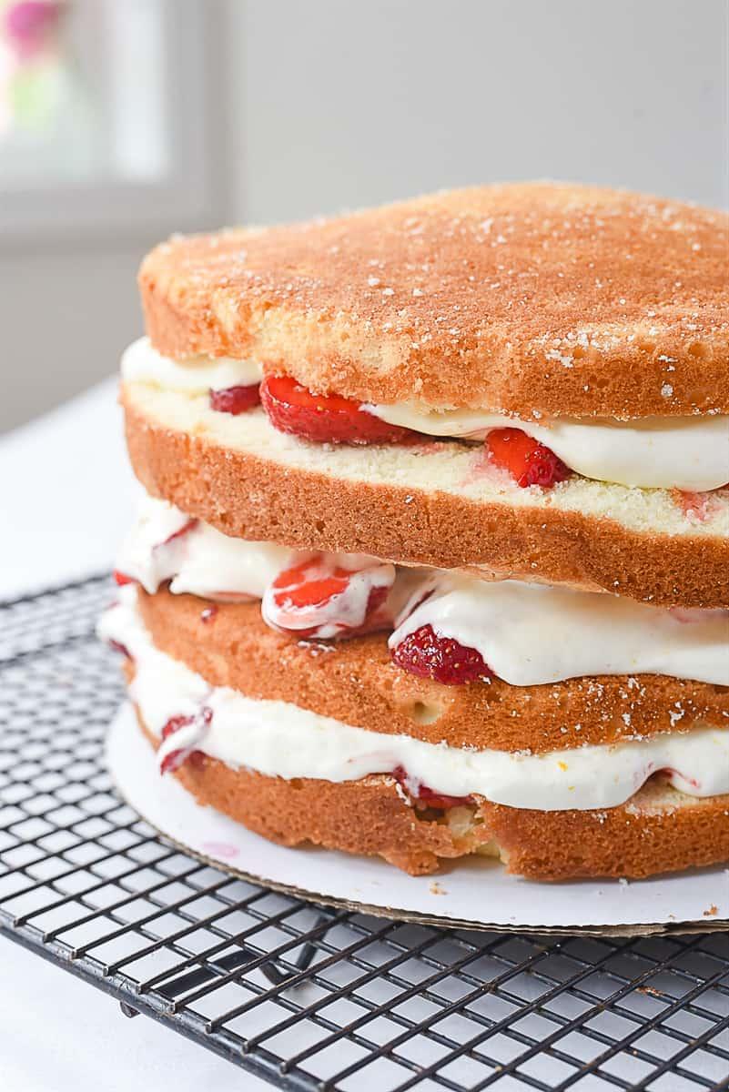layers of strawberry cake