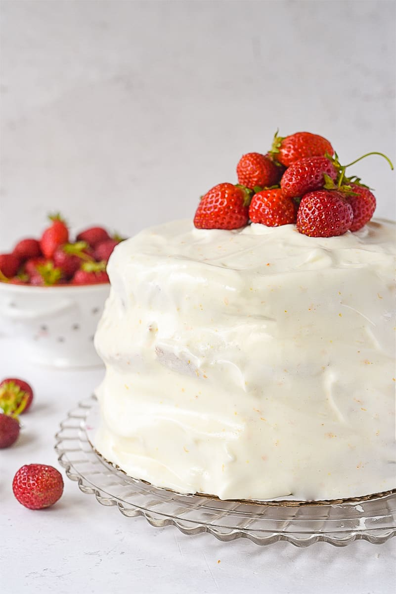 layered strawberry cake with 7 minute frosting