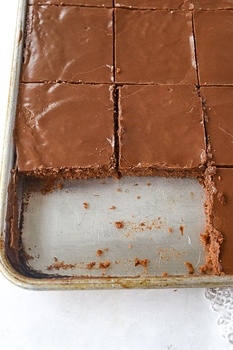 texas sheet cake missing two pieces