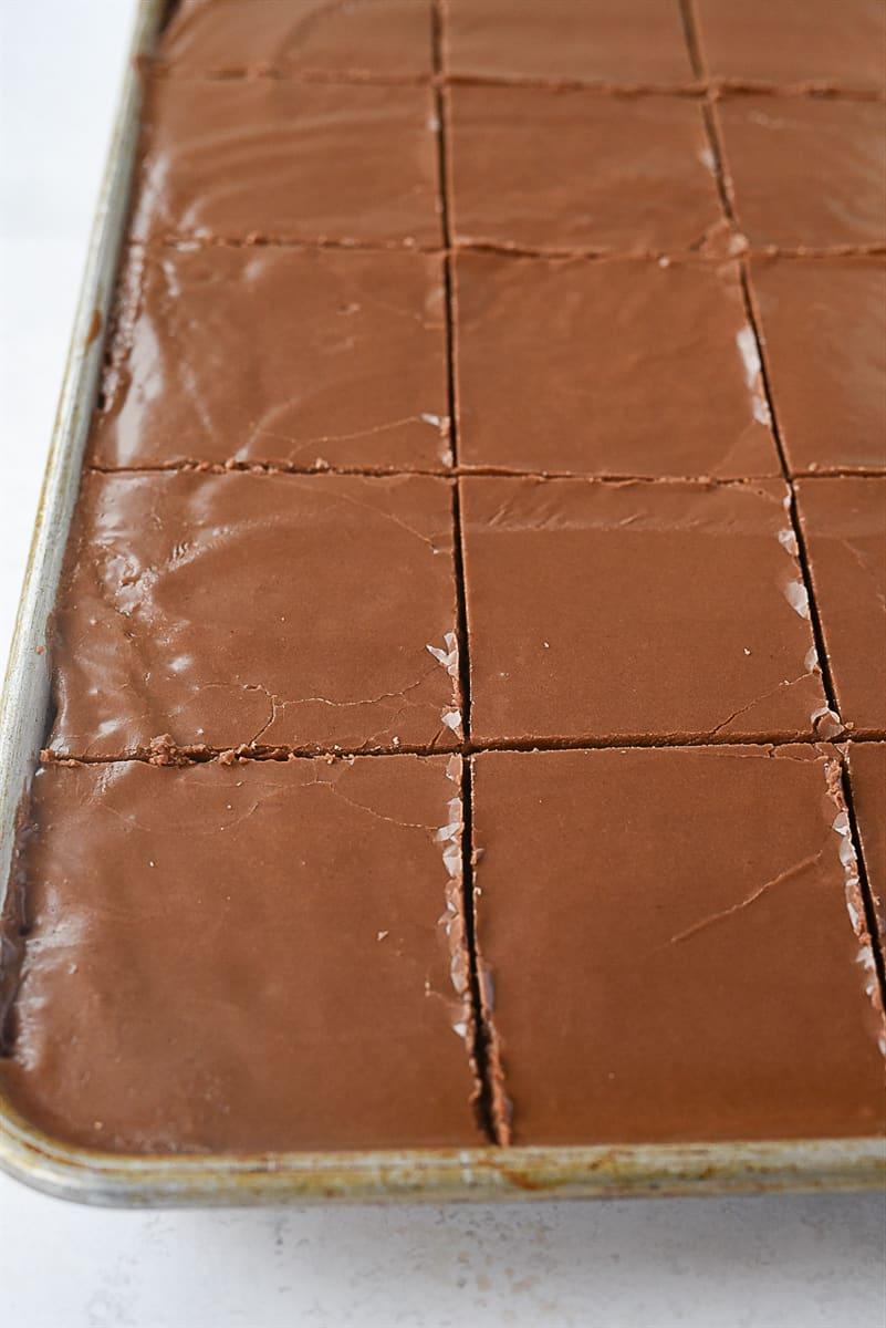 Texas sheet cake cut into pieces