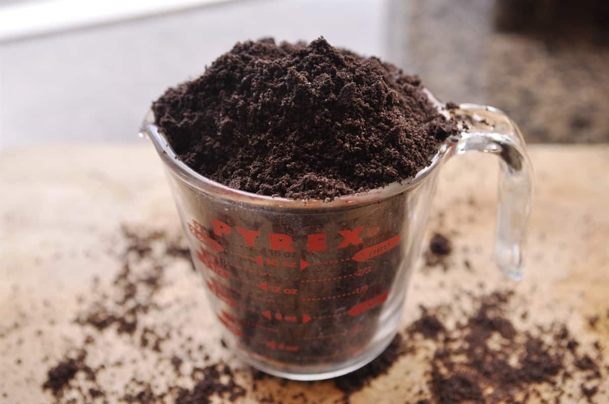 cup of Oreo crumbs