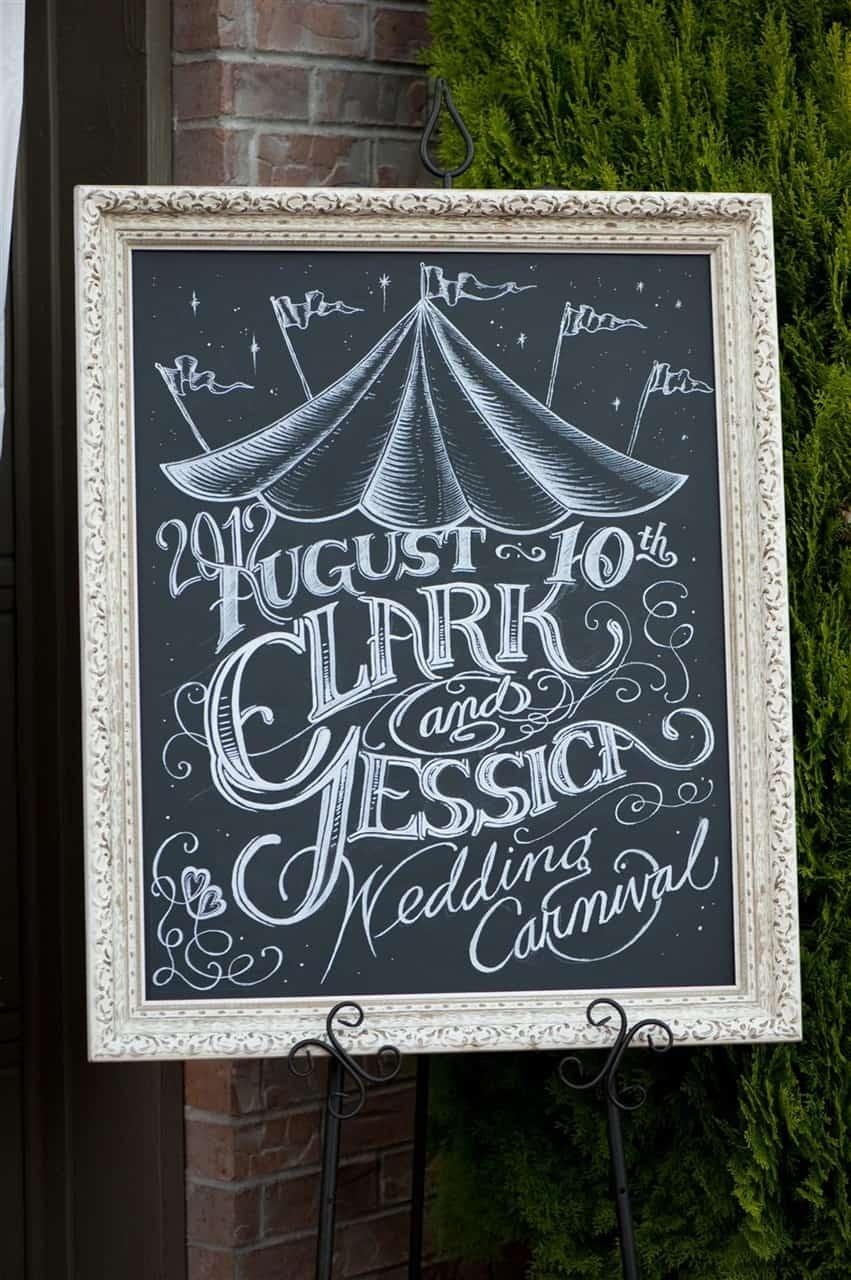 carnival wedding chalk art