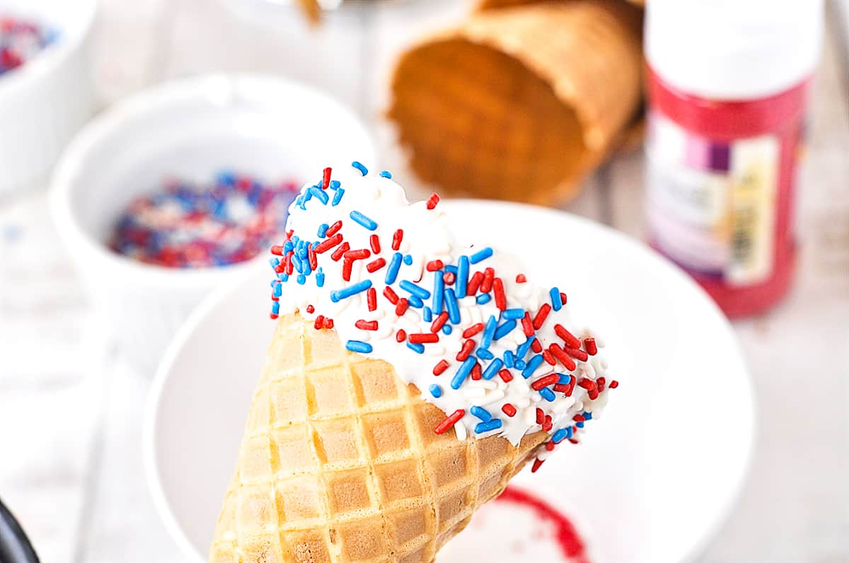 sprinkles on waffle cone