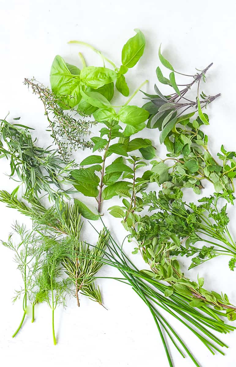 overhead shot of a pile of herbs