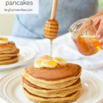 drizzling honey on pancakes