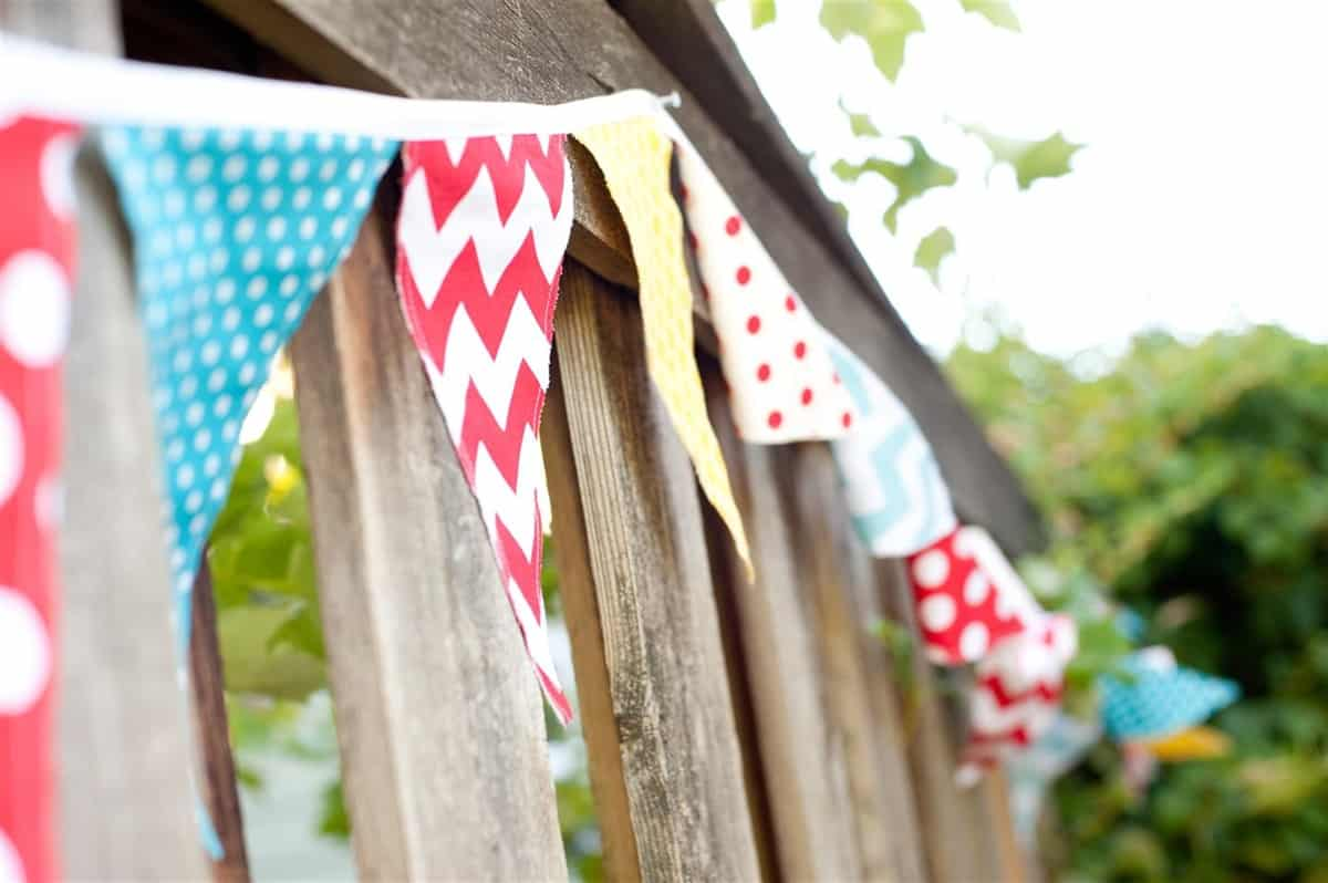 pennant banner on fence