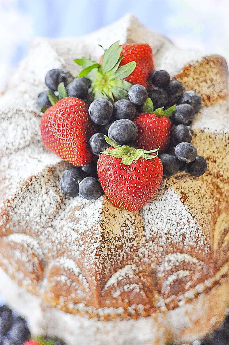 top of bundt cake with fruit