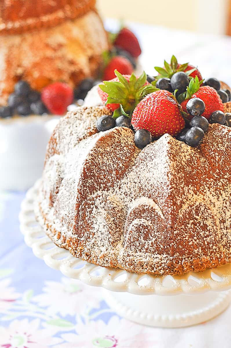 smaller bundt cake on stand