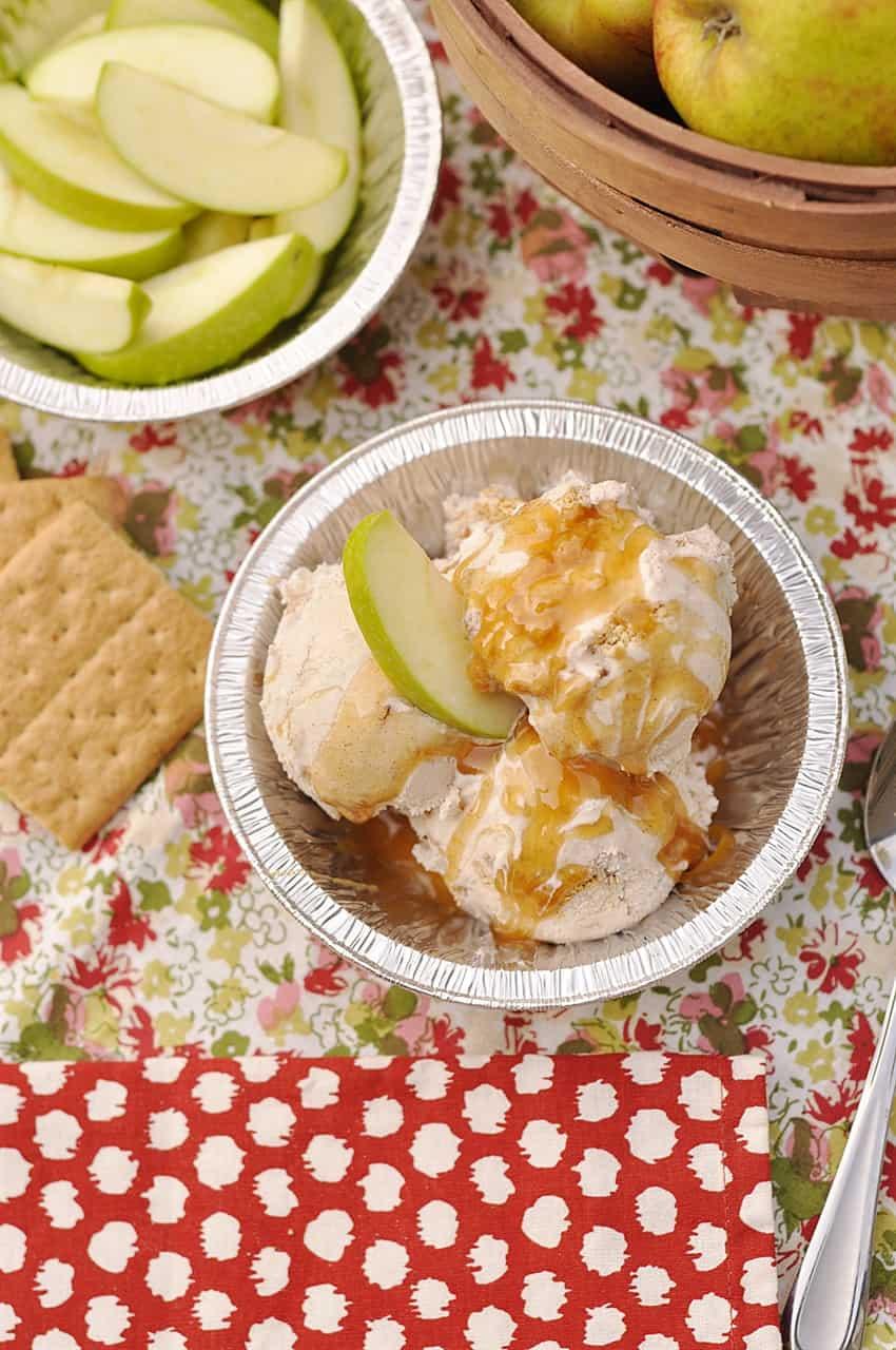 overhead shot of apple pie ice cream