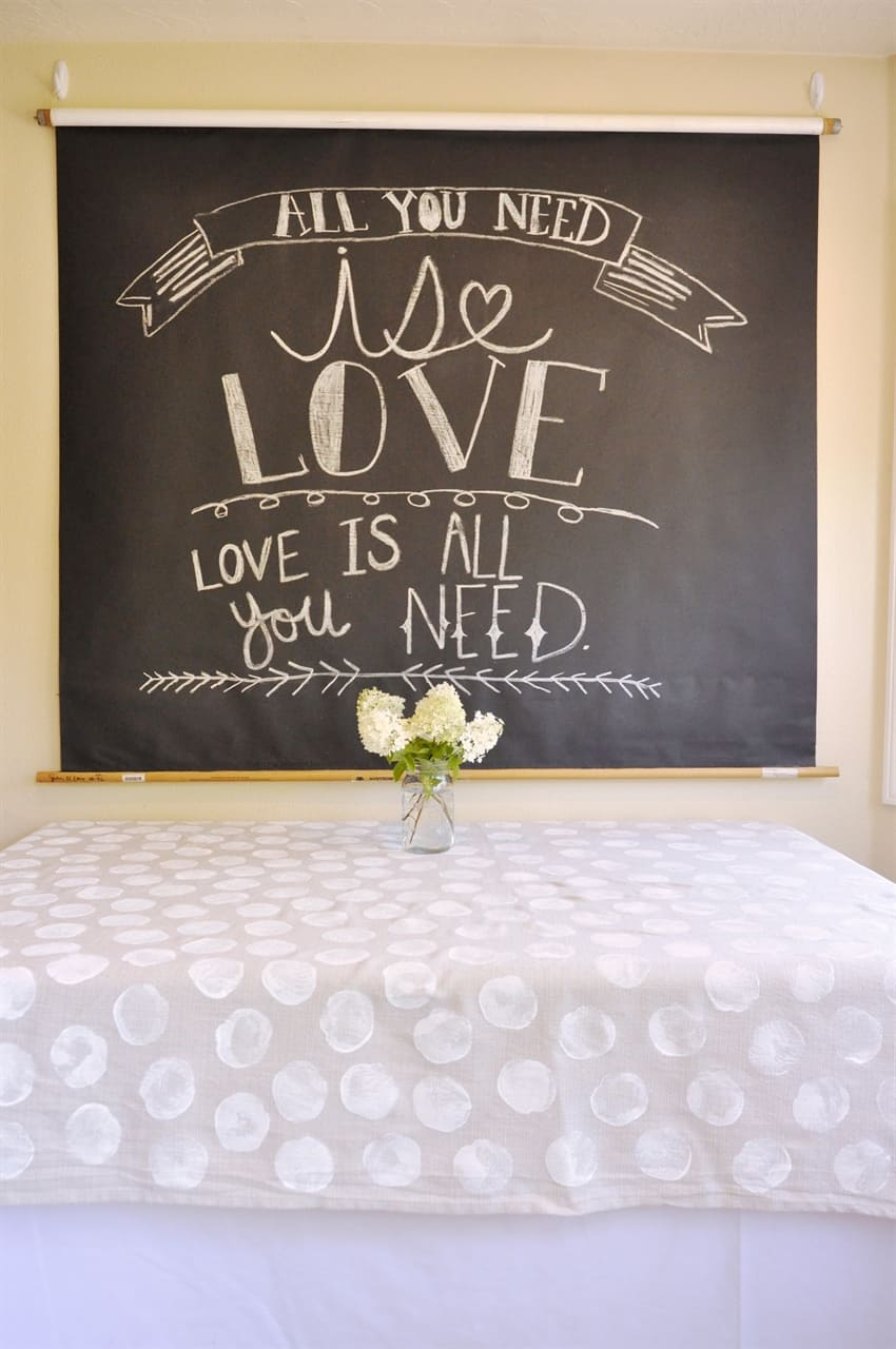 chalkboard party backdrop hanging on wall
