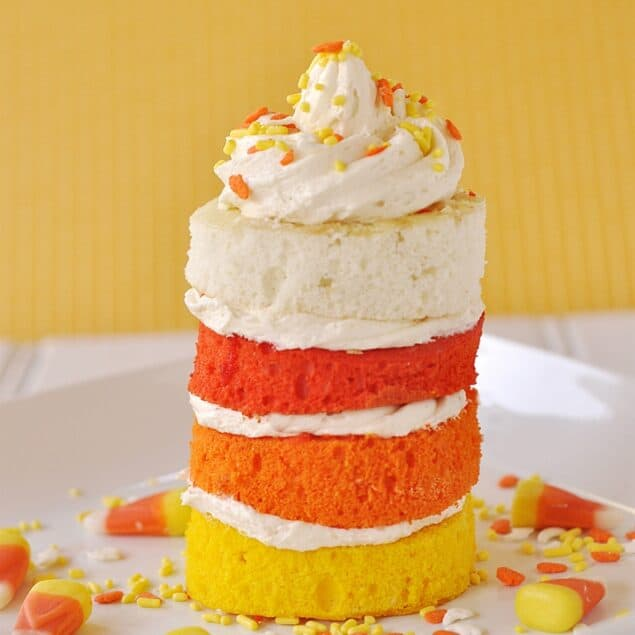 candy corn cake on a plate