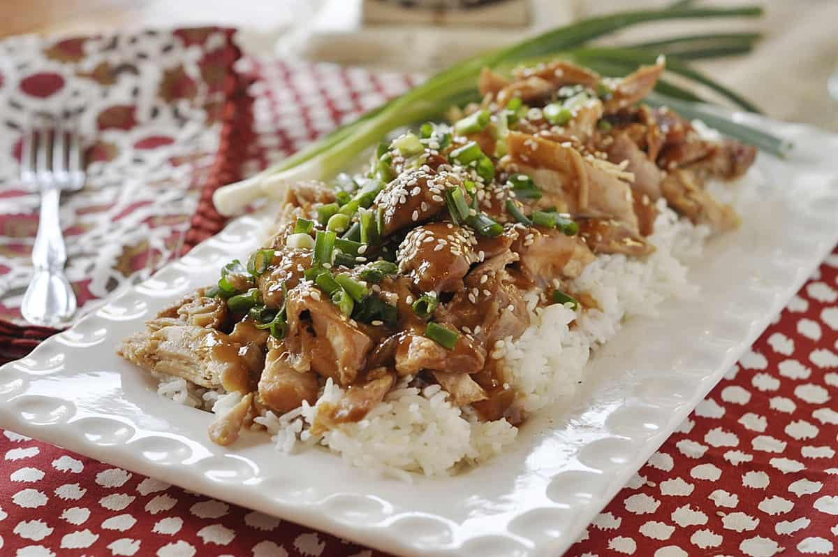chicken with green onions on top