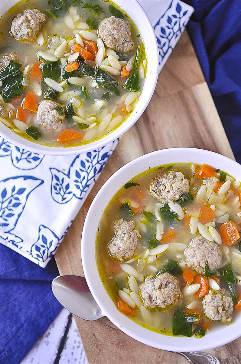 overhead shot of italian wedding soup
