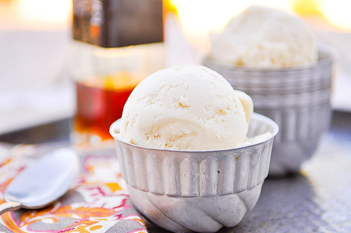 two scoops of maple ice cream