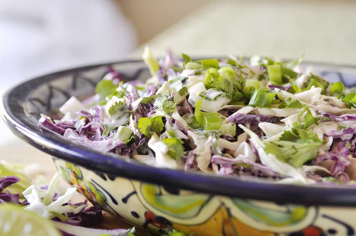 closeup of mexican cole slaw in a bowl