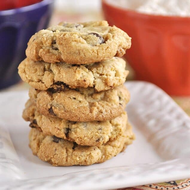Gluten Free Chocolate Chip Cookies in a stack