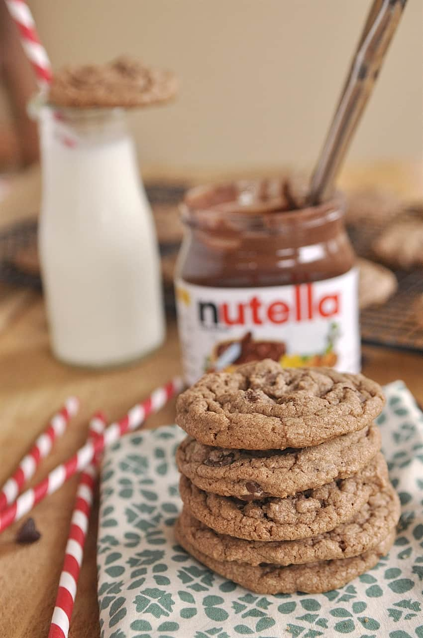 stack of nutella chocolate chip cookies