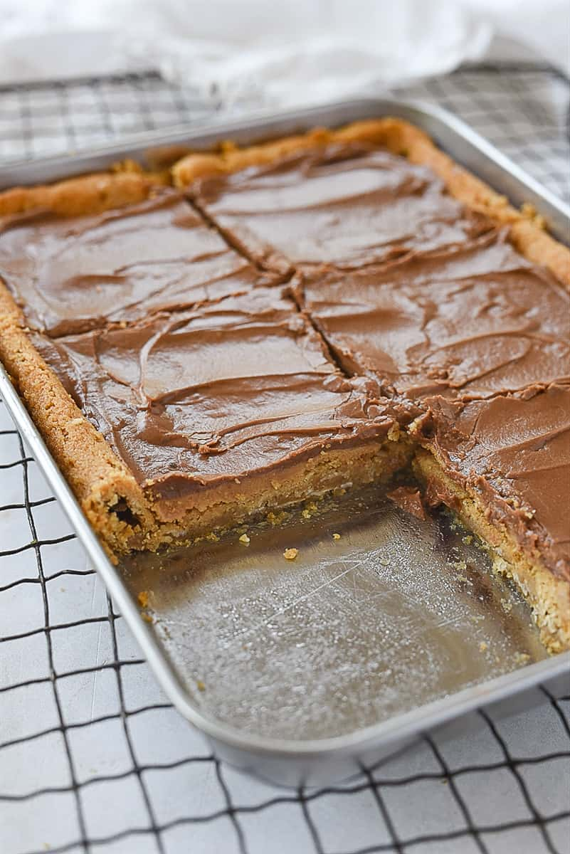 pan of peanut butter bars with one missing