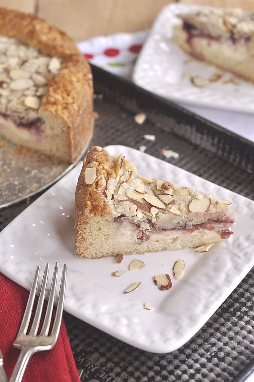 slice of raspberry cream cheese coffee cake
