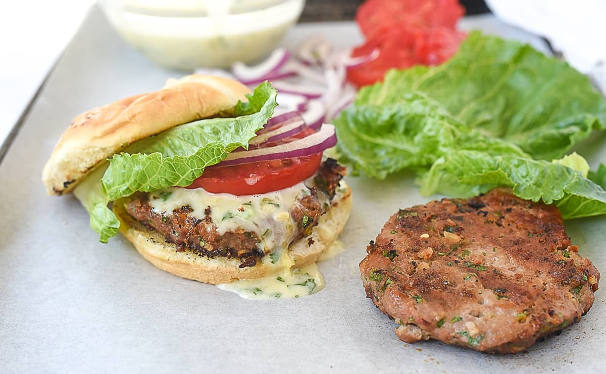 turkey burger and fixings
