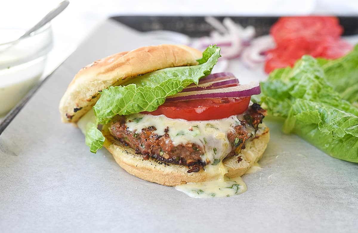 turkey burger with toppings