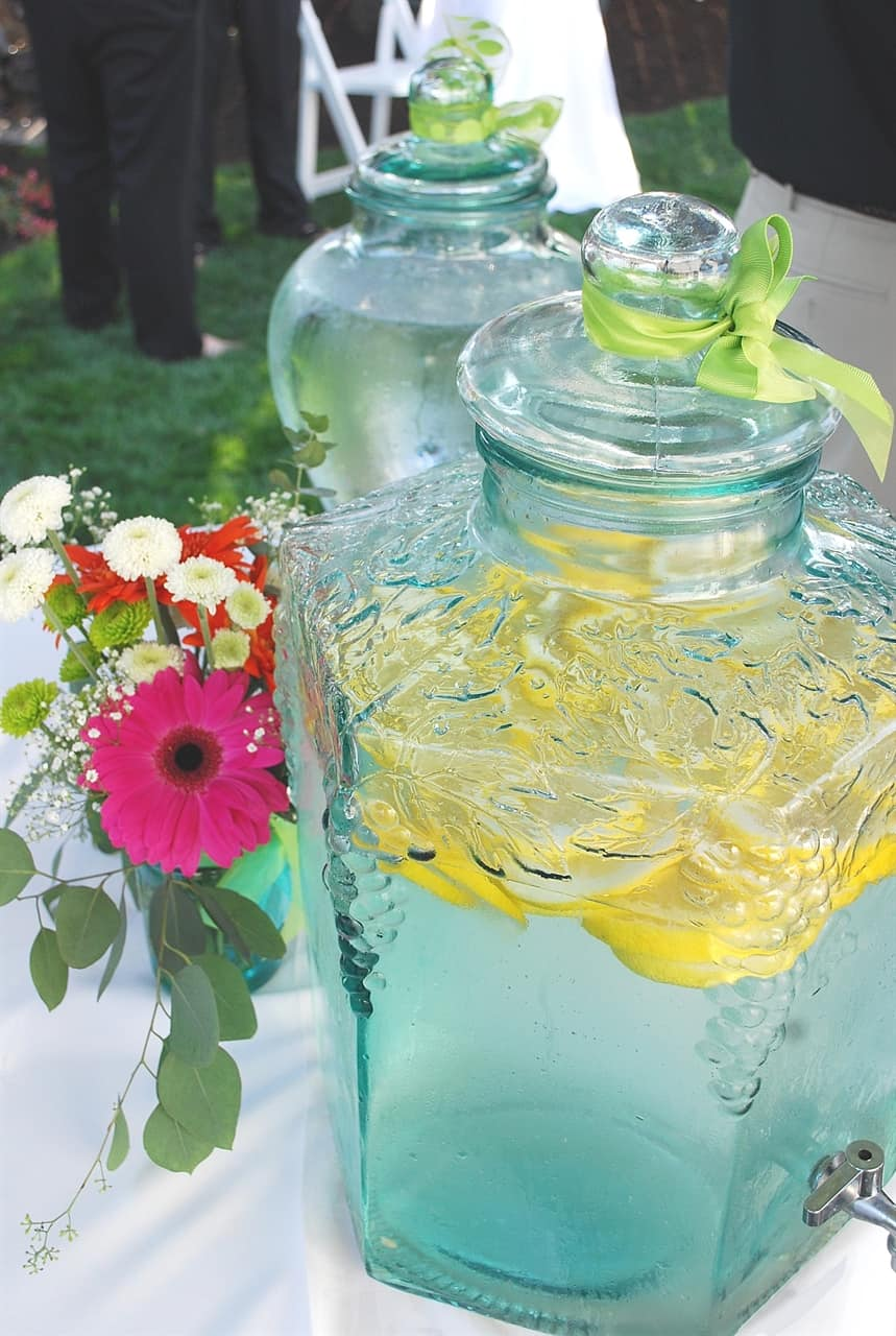 container of lemon water