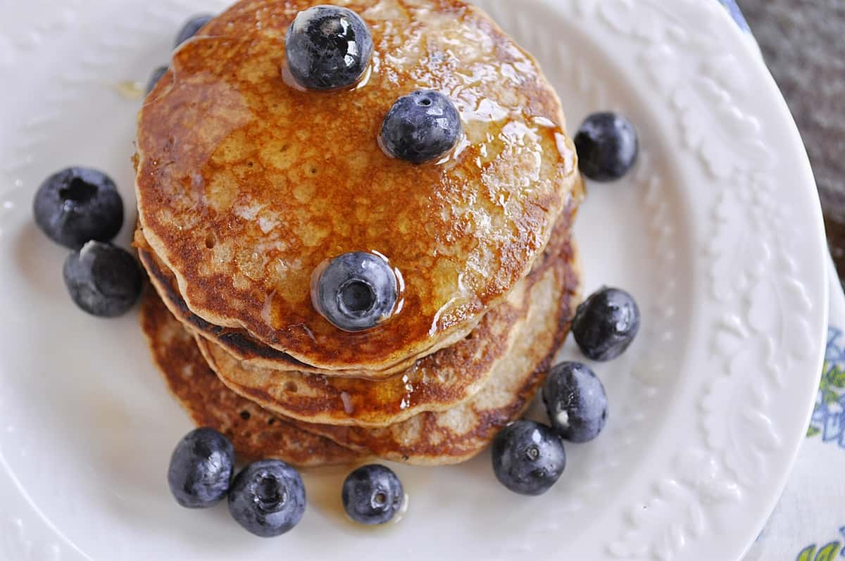 overhead shot of pancakes