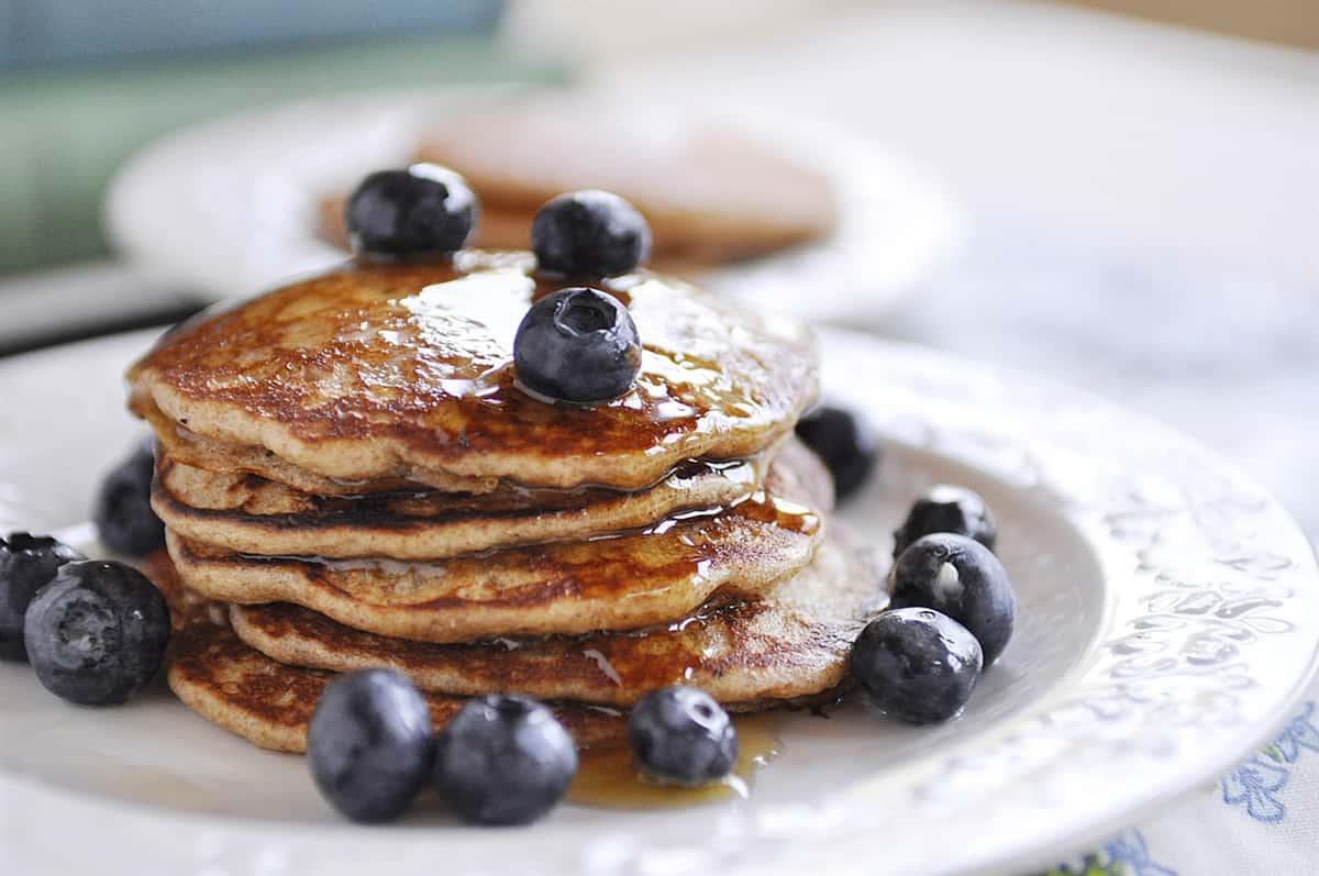 closeup of whole wheat pancakes